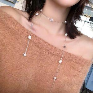 Pearl Swarovski crystal long necklace